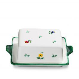 handgemacht in /Österreich GMUNDNER KERAMIK Butterdose Gr/össe l= 16.5 cm x b= 12 cm x h= 5.7 cm Rotgeflammt Geschirr